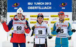 29.01.2013, Biathlonzentrum, Obertilliach AUT, IBU, Jugend und Junioren Weltmeisterschaften, Einzel Jugend Maenner, im Bild v.l.n.r. Zweiter Platz Sean Doherty, Gewinner Aristide Begue (FRA) und Dritter Platz Anton Myhda (UKR) // f.l.t.r. 2nd place Sean Doherty from United States of America, Winner Aristide Begue from France and 3rd place Anton Myhda from Ukraine during the Individual Youth Men of IBU Youth  and Juniors World Championships at Biathloncenter, Obertilliach, Austria on 2013/01/29. EXPA Pictures © 2013, PhotoCredit: EXPA/ Michael Gruber