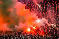 ROTTERDAM - 03-03-2016, Feyenoord - AZ, stadion de Kuip, 3-1m fakkels, sfeer, supporters.