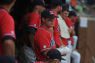 Mississippi's Zach Miller (1) has his hand wrapped in ice towards the end of the game vs. St. John's during an NCAA Regional game at Davenport Field in Charlottesville, Va. on Sunday, June 6, 2010. St. John's won 20-16.