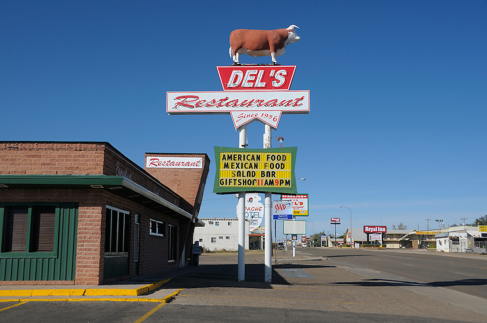 Restaurant Sign, Del's, Old Route 66 nostalgia, Tucumcari, New Mexico, USA
