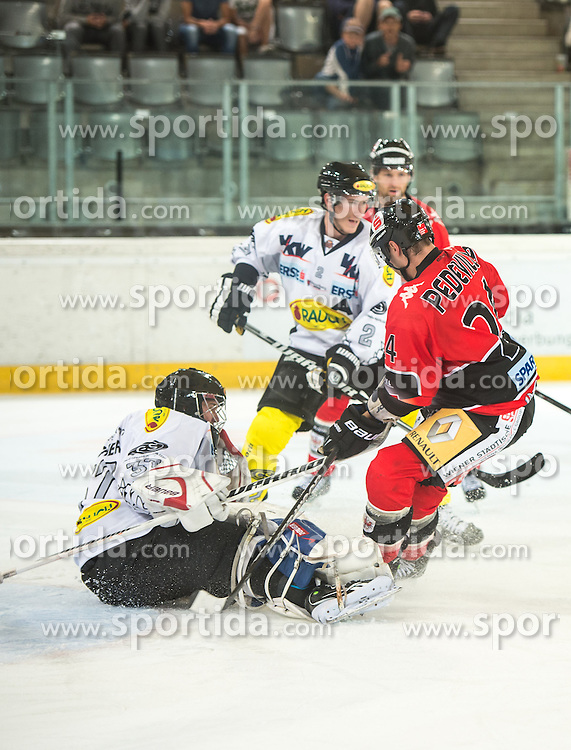 09.09.2012, Tiroler Wasserkraft Arena, Innsbruck, AUT, EBEL, HC TWK Innsbruck vs EC Dornbirn, 02. Runde, im Bild Patrick Desrochers, (EC Dornbirn, #37), Oliver Magnan-Grenier, (EC Dornbirn, #02), Florian Pedevilla, (HC TWK Innsbruck, # 24) // during the Erste Bank Icehockey League 2nd Round match between HC TWK Innsbruck and EC Dornbirn at the Tiroler Wasserkraft Arena, Innsbruck, Austria on 2012/09/09. EXPA Pictures © 2012, PhotoCredit: EXPA/ Eric Fahrner