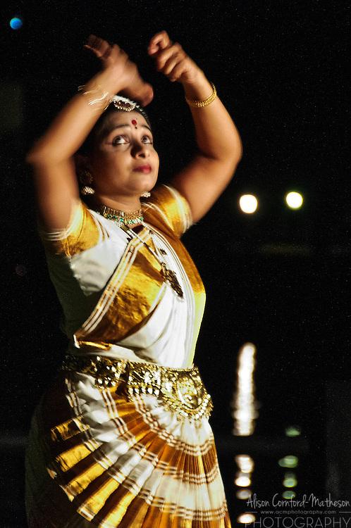 A Mohiniyattam dancer doing a classical Indian Dance in Kerala, India