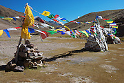 Tibetan Buddhist Prayer Flags at Chandra Taal Lake in Himachal Predesh District of India