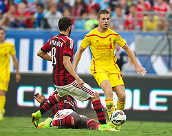 CHARLOTTE, USA - Saturday, August 2, 2014: Liverpool's Jordan Henderson in action against AC Milan during the International Champions Cup Group B match at the Bank of America Stadium on day thirteen of the club's USA Tour. (Pic by David Rawcliffe/Propaganda)