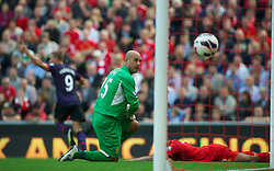 02.09.2012, Anfield, Liverpool, ENG, Premier League, FC Liverpool vs FC Arsenal, 2. Runde, im Bild Liverpool's goalkeeper Jose Reina looks dejected as Arsenal's Lukas Podolski scores the first goal during the English Premier League 2nd round match between Liverpool FC and Arsenal FC at Anfield, Liverpool, Great Britain on 2012/09/02. EXPA Pictures © 2012, PhotoCredit: EXPA/ Propagandaphoto/ David Rawcliff..***** ATTENTION - OUT OF ENG, GBR, UK *****