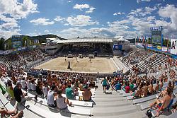 30.07.2013, Klagenfurt, Strandbad, AUT, A1 Beachvolleyball EM 2013, in photo View on the court during the A1 Beachvolleyball European Championship at the Strandbad Klagenfurt, Austria on 20130730. (Photo by Matic Klansek Velej / Sportida)