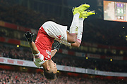 GOAL 4-1 Arsenal striker Pierre-Emerick Aubameyang (14) somersaults after Arsenal's fourth during the Premier League match between Arsenal and Fulham at the Emirates Stadium, London, England on 1 January 2019.