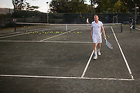 Gerald Marzorati takes tennis lessons from coach Kirill Azovtsev at the NTAC Tennis facility in Pelham, NY... Photo by Robert Caplin<br /> <br /> Photo by Robert Caplin