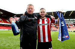 Free to use courtesy of Sky Bet - Sheffield United manager Chris Wilder and Billy Sharp of Sheffield United celebrate becoming Champions of Sky Bet League One for The 2016/17 Season  - Mandatory by-line: Robbie Stephenson/JMP - 17/04/2017 - FOOTBALL - Bramall Lane - Sheffield, England - Sheffield United v Bradford City - Sky Bet League One