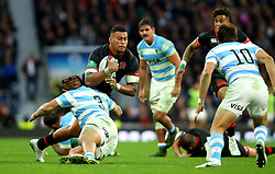 Nathan Hughes of England is tackled by Nahuel Tetaz Chaparro of Argentina - Mandatory by-line: Robbie Stephenson/JMP - 11/11/2017 - RUGBY - Twickenham Stadium - London, England - England v Argentina - Old Mutual Wealth Series
