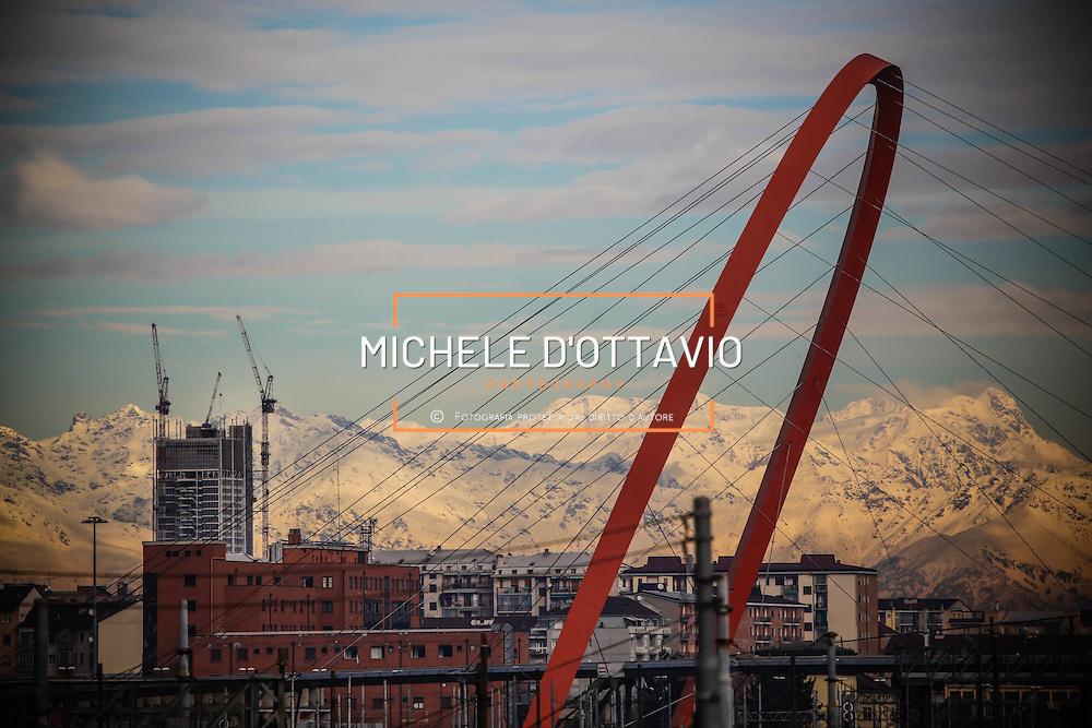 Torino,  cantiere del grattacielo Torre Intesa Sanpaolo progettato da Renzo Piano.. 9 dicembre 2013