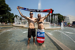 Slovenian fans in the city centre prior to the football match between Real Madrid (ESP) and Atlético Madrid (ESP) in Final of UEFA Champions League, on May 28, 2016 in Doumo, Milan, Italy. Photo by Vid Ponikvar / Sportida