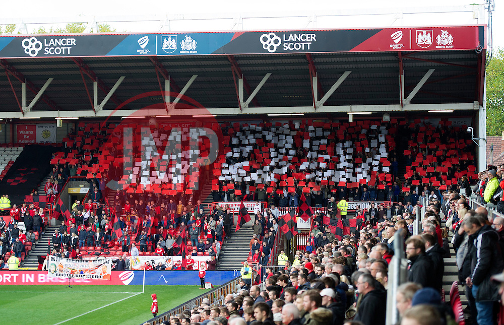 Bristol City supporters display flags and banners in honour of club legend Gerry Gow - Mandatory by-line: Paul Knight/JMP - 22/10/2016 - FOOTBALL - Ashton Gate Stadium - Bristol, England - Bristol City v Blackburn Rovers - Sky Bet Championship