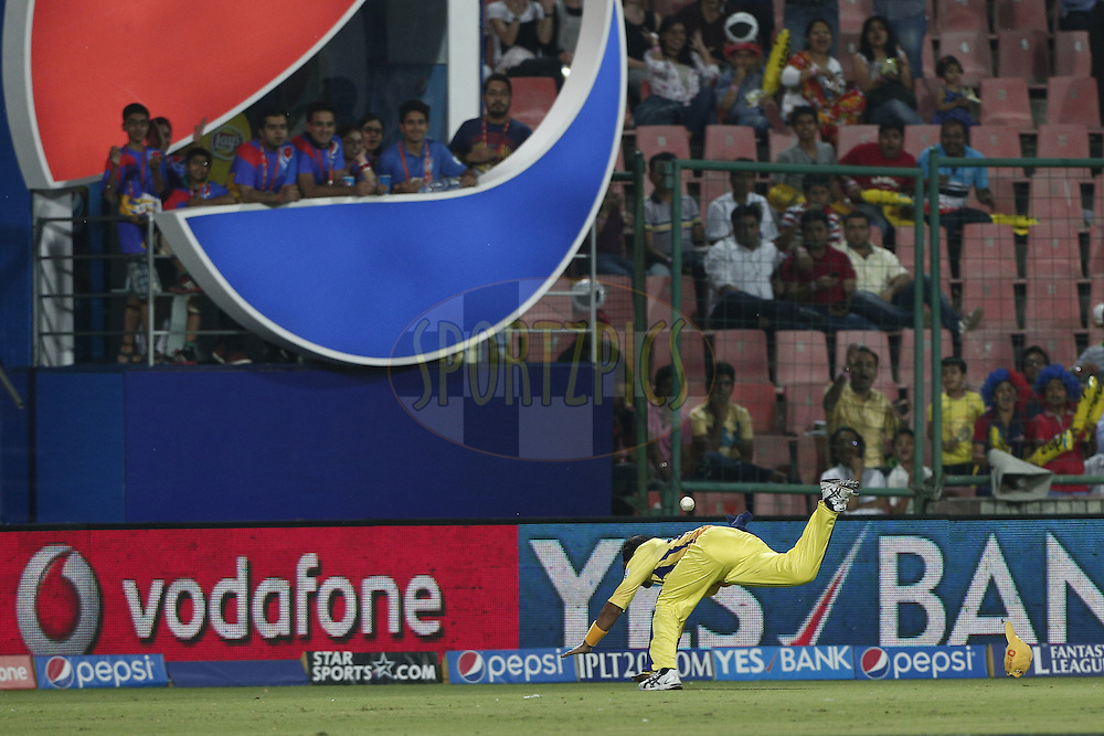 Chennai Superkings Players trying to save boundary during match 26 of the Pepsi Indian Premier League Season 2014 between the Delhi Daredevils and the Chennai Superkings held at the Ferozeshah Kotla cricket stadium, Delhi, India on the 5th May  2014<br /> <br /> Photo by Deepak Malik / IPL / SPORTZPICS<br /> <br /> <br /> <br /> Image use subject to terms and conditions which can be found here:  http://sportzpics.photoshelter.com/gallery/Pepsi-IPL-Image-terms-and-conditions/G00004VW1IVJ.gB0/C0000TScjhBM6ikg