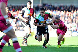 Ben Botica of Harlequins in possession - Photo mandatory by-line: Patrick Khachfe/JMP - Mobile: 07966 386802 04/10/2014 - SPORT - RUGBY UNION - London - The Twickenham Stoop - Harlequins v London Welsh - Aviva Premiership