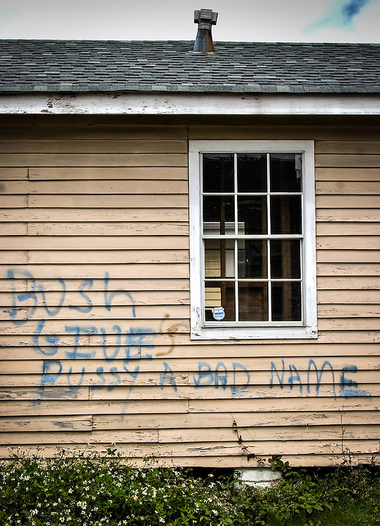 Graffiti on a home destroyed by Hurricane Katirna in New Olreans