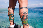 Tatoo, Takaroa, Tuamotu Islands, French Polynesia, (Editorial use only)<br />