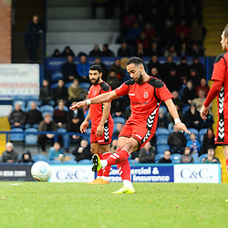 TELFORD COPYRIGHT MIKE SHERIDAN 16/2/2019 - GOAL. Brendan Daniels of AFC Telford scores with a free kick during the Vanarama Conference North fixture between Stockport County and AFC Telford United at Edgeley Park