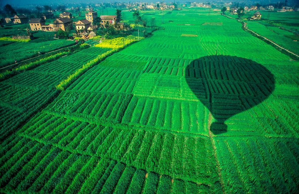 Hot air balloon flies over farm fields of Kathmandu Valley, Nepal.