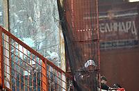 I disordini dei tifosi serbi che rompono una vetrata<br /> Italia Serbia - Qualificazioni Euro 2012<br /> Stadio Luigi Ferraris di Marassi, Genova, 12/10/2010<br /> © Giorgio Perottino / Insidefoto