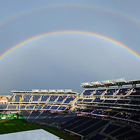 23 June 2008:  A double rainbow forms over  Nationals Park in Washington, DC prior to the game between the Los Angeles Angels and the Washington Nationals.  The Los Angeles Angels defeated the Washington Nationals 3-2 in interleague play at Nationals Park in Washington, D.C.   ****For Editorial Use Only****