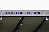 Cold Nlow Lane sign at Millwall Football Club during the Sky Bet Championship match at The Den, London<br /> Picture by David Horn/Focus Images Ltd +44 7545 970036<br /> 15/02/2014