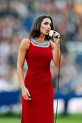 Laura Wright sings Swing Low Sweet Charriot before the match - Photo mandatory by-line: Rogan Thomson/JMP - 07966 386802 - 29/11/2014 - SPORT - RUGBY UNION - London, England - Twickenham Stadium - England v Australia - QBE Autumn Internationals.