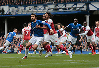 Football - 2018 / 2019 Premier League - Everton vs. Arsenal<br /> <br /> Mohamed Elneny of Arsenal closes down Andre Gomes of Everton at an Everton corner, at Goodison Park.<br /> <br /> COLORSPORT/ALAN MARTIN