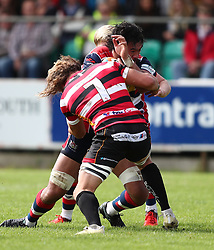 Steven Luatua of Bristol Rugby is tackled by Alex Cheesman of Cornish Pirates - Mandatory by-line: Gary Day/JMP - 10/09/2017 - RUGBY - Mennaye Field - Penzance, England - Cornish Pirates v Bristol Rugby - Greene King IPA Championship