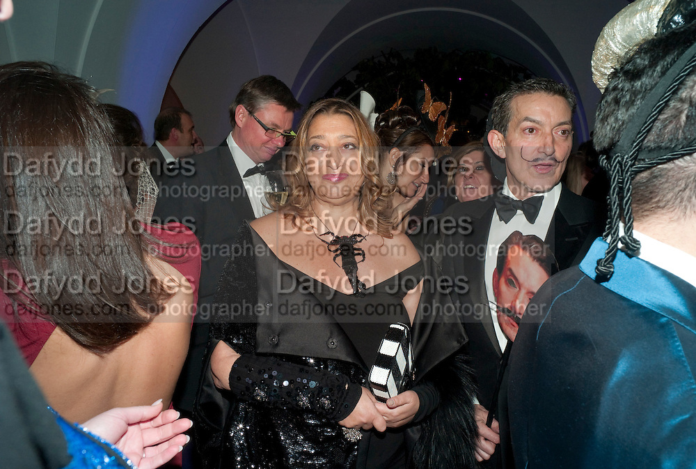 ZAHA HADID; DAVID GILL, The Surrealist Ball in aid of the NSPCC. Hosted by Lucy Yeomans and Harry Blain. Banqueting House. Whitehall. 17 March 2011. -DO NOT ARCHIVE-© Copyright Photograph by Dafydd Jones. 248 Clapham Rd. London SW9 0PZ. Tel 0207 820 0771. www.dafjones.com.
