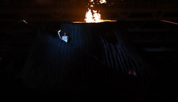 JAKARTA, Aug. 18, 2018  Torchbearer Susi Susanti of Indonesia prepares to light up fire at the opening ceremony of the 18th Asian Games at Gelora Bung Karno (GBK) Main Stadium in Jakarta, Indonesia, Aug. 18, 2018. (Credit Image: © Wang Yuguo/Xinhua via ZUMA Wire)