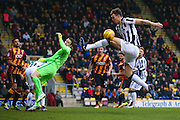 Millwall defender, on loan from Reading, Jake Cooper (24) can't connect with the cross during the EFL Sky Bet League 1 match between Bradford City and Millwall at the Northern Commercials Stadium at Valley Parade, Bradford, England on 21 January 2017. Photo by Simon Davies.