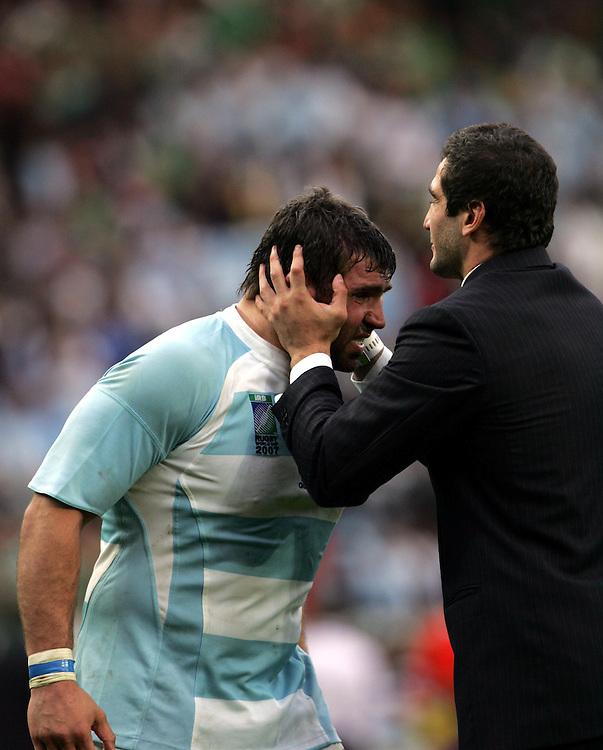 Juan Martin Scelzo (Left) celebrates after the game. Ireland v Argentina, Parc Des Princes, Paris, France, 30th September 2007. Rugby World Cup 2007.
