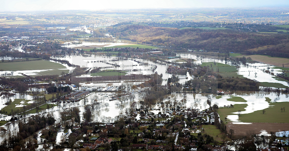 **Previously unseen pics from original aerial shoot** © London News Pictures.  09/02/2014. Bourne End, UK.  Aerial view showing flooding covering land between Bourne End and Marlow, Buckinghamshire. The Thames river has hit record levels causing extensive flooding to parts of the southeast of England. Photo credit : Ben Cawthra/LNP