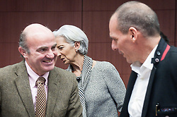 Spanish Economy Minister Luis de Guindos (L), International Monetary Fund Managing Director Christine Lagarde (C) and Greek Finance Minister Yanis Varoufakis  during  an emergency Eurogroup finance ministers meeting at the European Council in Brussels, Belgium on 20.02.2015 Eurogroup head Jeroen Dijsselbloem was working overtime on February 20 to save a make-or-break meeting on Greece's demand to ease its bailout programme as Germany insisted it stick with its austerity commitments after days of sharp exchanges, the 19 eurozone finance ministers gathered for the third time in little over a week to consider Athens' take-it or leave-it proposal to extend an EU loan programme which expires this month.  by Wiktor Dabkowski. EXPA Pictures © 2015, PhotoCredit: EXPA/ Photoshot/ Wiktor Dabkowski<br /> <br /> *****ATTENTION - for AUT, SLO, CRO, SRB, BIH, MAZ only*****