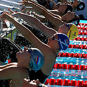 Emily Seebohm, Australia, (centre) at the start of the Women's 50m backstroke heats at the World Swimming Championships in Rome on Wednesday, July 29, 2009. Photo Tim Clayton.