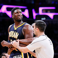 04 January 2014: Indiana Pacers center Roy Hibbert (55) is restrained by Indiana Pacers guard Rodney Stuckey (2) and referee Zach Zarba (28) during the Los Angeles Lakers 88-87 victory over the Indiana Pacers, at the Staples Center, Los Angeles, California, USA.