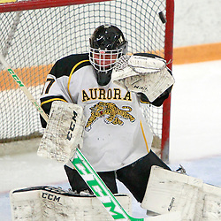 AURORA, ON - Feb 21 : Ontario Junior Hockey League Game Action between the Buffalo Jr. Sabres and the Aurora Tigers, Kevin Entmaa #37 of the Aurora Tigers Hockey Club makes the save during second period game action.<br /> (Photo by Brian Watts / OJHL Images)
