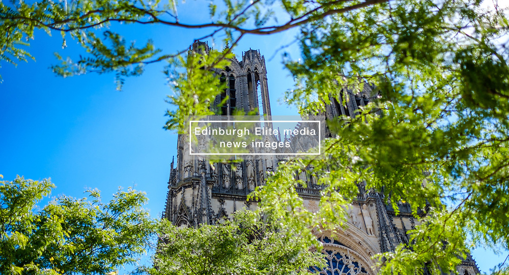 A glimpse of the Reims Cathedral through trees<br /> <br /> (c) Andrew Wilson | Edinburgh Elite media