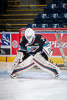 KELOWNA, CANADA - OCTOBER 23: Michael Herringer #30 of Kelowna Rockets  warms up against the Prince George Cougars on October 23, 2015 at Prospera Place in Kelowna, British Columbia, Canada.  (Photo by Marissa Baecker/Shoot the Breeze)  *** Local Caption *** Michael Herringer;