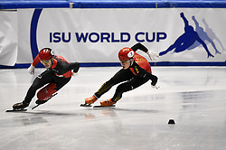 February 9, 2019 - Torino, Italia - Foto LaPresse/Nicolò Campo .9/02/2019 Torino (Italia) .Sport.ISU World Cup Short Track Torino - Men 500 meters Quarterfinals .Nella foto: Samuel Girard, Ziwei Ren..Photo LaPresse/Nicolò Campo .February 9, 2019 Turin (Italy) .Sport.ISU World Cup Short Track Turin - Men 500 meters Quarterfinals.In the picture: Samuel Girard, Ziwei Ren (Credit Image: © Nicolò Campo/Lapresse via ZUMA Press)