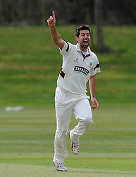 Somerset's Tim Groenewald unsuccessfully appeals for the wicket of Glamorgan's James Kettleborough - Photo mandatory by-line: Harry Trump/JMP - Mobile: 07966 386802 - 23/03/15 - SPORT - CRICKET - Pre Season Fixture - Day 1 - Somerset v Glamorgan - Taunton Vale Cricket Club, Somerset, England.