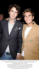 Left to right, brothers  MR RUPERT HUMPHRIES and MR OSCAR HUMPHRIES sons of comedian Barry Humphries, at a party in London on 24th September 2002.		PDK 125