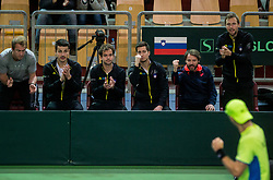 Grega Zemlja, Mike Urbanija, Nik Razborsek, Aljaz Bedene, Gorazd Gavrilov, Tom Kocevar Desman and Blaz Rola of Slovenia  during the Day 1 of Davis Cup 2018 Europe/Africa zone Group II between Slovenia and Poland, on February 3, 2018 in Arena Lukna, Maribor, Slovenia. Photo by Vid Ponikvar / Sportida