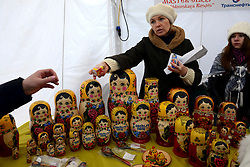 © London News Pictures. 16/03/2013 . London, UK.  Vendors sell Matryoshka dolls (traditional Russain toys) during the Russian Folk festival of Maslenitsa in Trafalgar Square, London. Maslenitsa is the Russian Sun Festival,  the celebration of the end of winter the start of spring... Peter Kollanyi/LNP