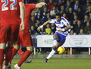 Reading striker, Garath McCleary hits one gaolbirds to force a save from Blackburn Rovers goalkeeper, Jason Steele during the Sky Bet Championship match between Reading and Blackburn Rovers at the Madejski Stadium, Reading, England on 20 December 2015. Photo by Andy Walter.