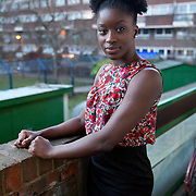 Jacqueline Kusi-Darkwan, 22, from the Bemerton Estate, Islington for a feature on life in the Borough of Islington - the most densely populated area in UK