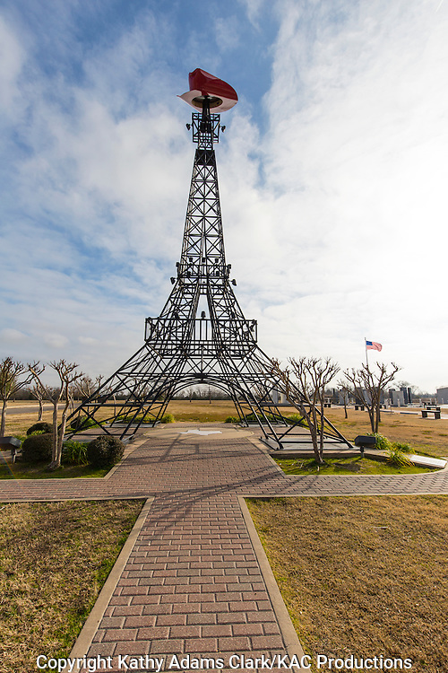The Eiffel Tower replica in Paris, Texas, is one of many in the United States.  Local citizens put a red cowboy hat on the top of their tower to set it apart from all the rest.