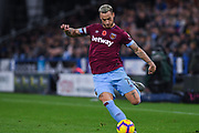Marko Arnautovic of West Ham United (7) crosses the ball during the Premier League match between Huddersfield Town and West Ham United at the John Smiths Stadium, Huddersfield, England on 10 November 2018.