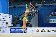 Wegscheider Natascha during qualifying at hoop in Pesaro World Cup 01 April 2016. Natascha was born in Graz , Austria, 1999. She is an Austrian individual rhythmic gymnast.